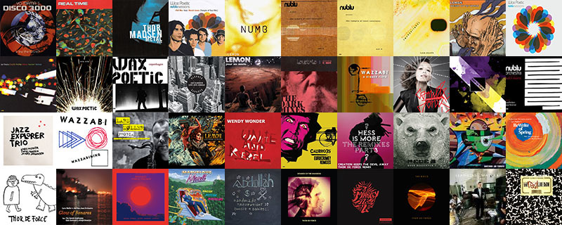 A collage of albums covers. Thor Madsen was involved in the music on all ablums.