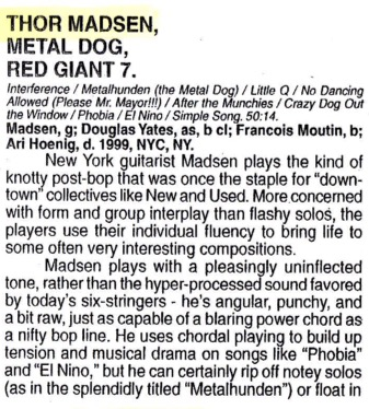Review of Thor Madsen Group Metal Dog in Cadence magazine 2001.