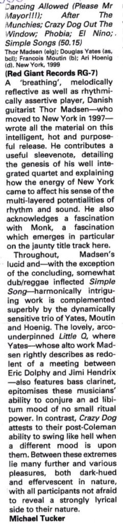 Review of Thor Madsen Group - Metal Dog in Jazz Journal.
