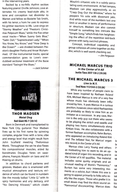 Review of Thor Madsen Group - Metal Dog in Jazz Times.