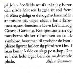 Review of Thor Madsen Group - Metal Dog in Jazzspecial magazine 2000.