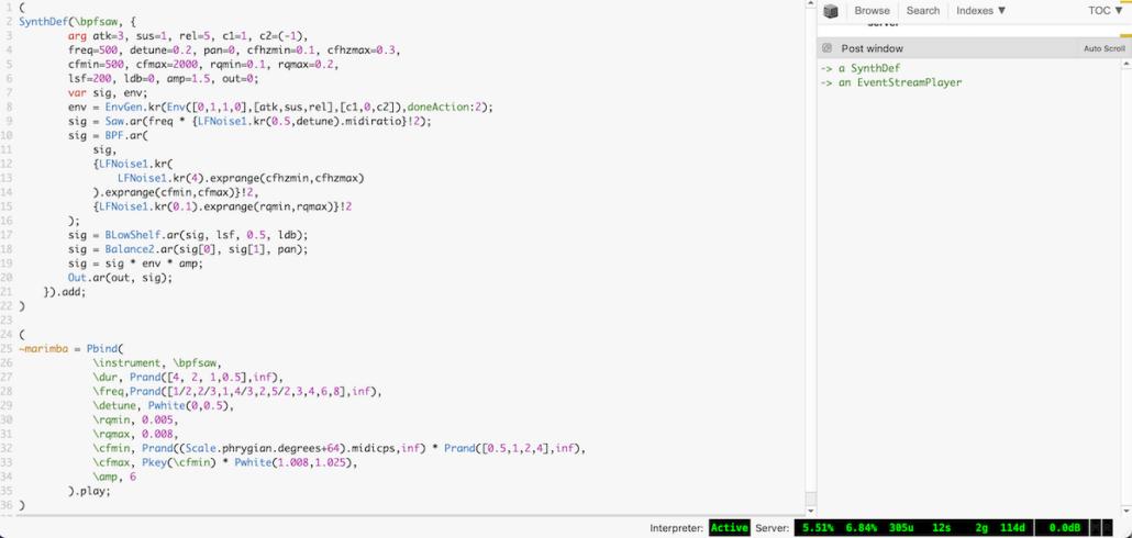 Marimbas - Supercollider screenshot